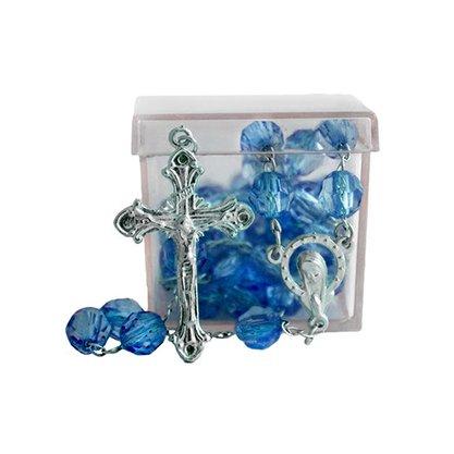 Terço Semi Cristal Azul Escuro com caixa 8 mm