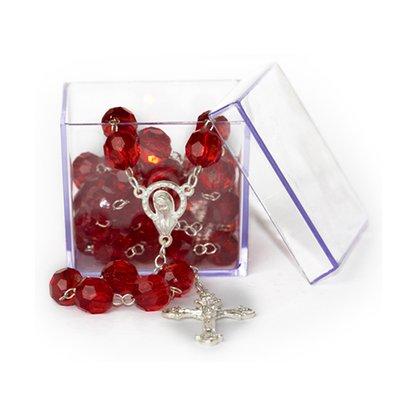 Terço Semi Cristal Vermelho 10mm Caixa