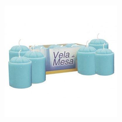 Vela de Mesa Azul - 6 Unidades