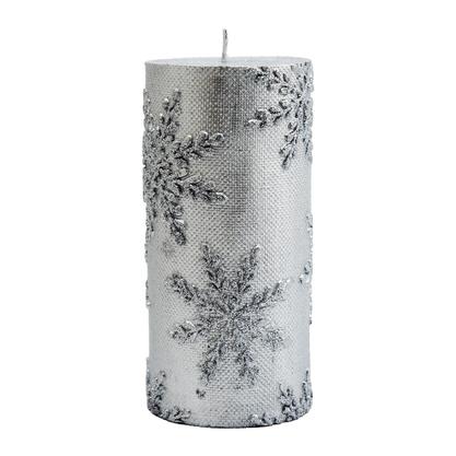 Vela Decorativa Natalina Torre Prata - 15 cm