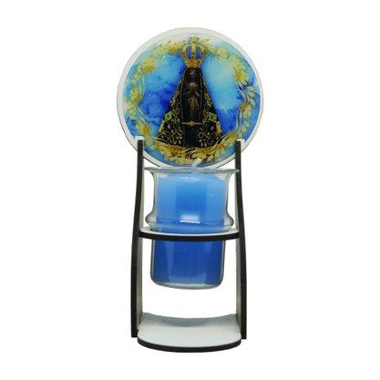 Vela Nossa Senhora Aparecida com Suporte em MDF Recho de Vidro com Vela - 15cm