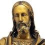 Imagem Busto Sagrado Coração de Jesus em Pó de Mármore com Pintura em Bronze - 27cm