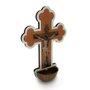 Crucifixo Pia Água Benta em MDF Branco - 20cm