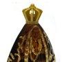 Porta Água Benta Nossa Senhora Aparecida em Vidro Âmbar Pintado - 14cm