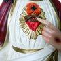 Resina Nacional Sagrado Coração de Jesus Colorido Olho Vidro - 105 cm