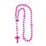 Terço de São Bento Plástico Rosa Claro Entremeio de Nossa Senhora Aparecida Preço da Dúzia